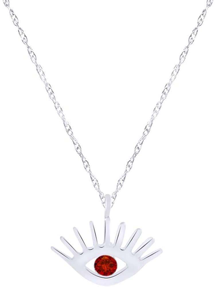 Wishrocks Evil Eye Pendant Necklace in 14K White Gold Over Sterling Silver