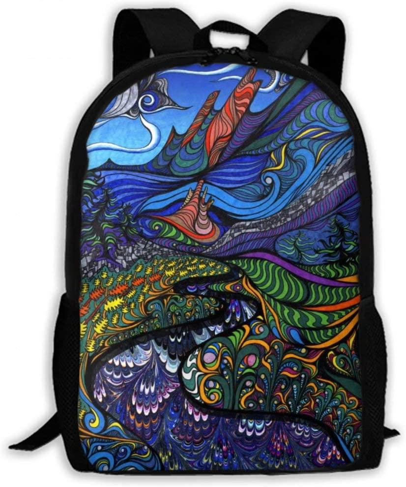 NiYoung Back to School Gift - Travel Hiking Backpack Gym Outdoor Hiking Bag Big Capacity Rucksacks Trippy Art School Shoulder Book Bags for Teen Boys and Girls