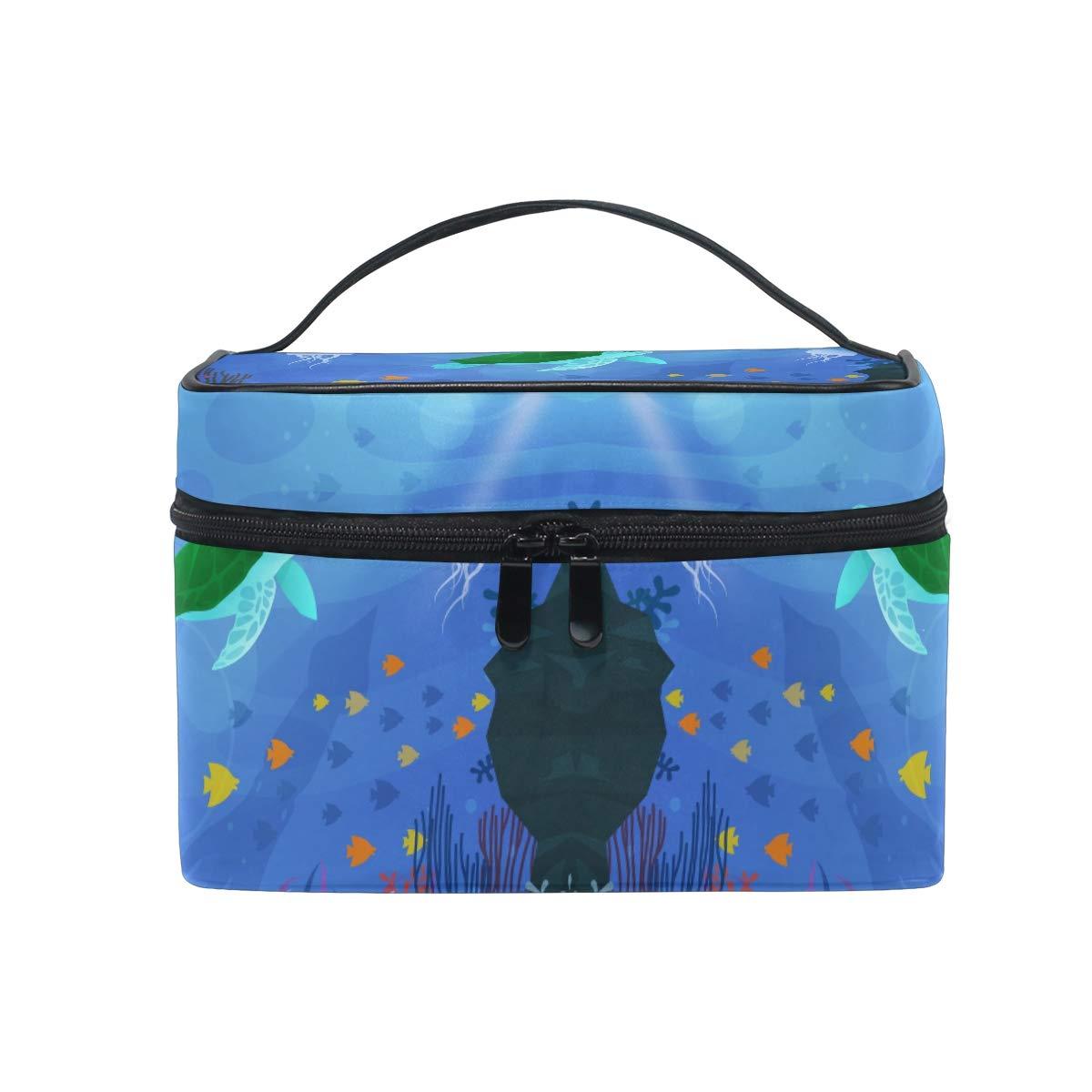 Women Cute Sea Turtle Cosmetic Bag Organizer Zipper Makeup Bags Pouch Toiletry Case
