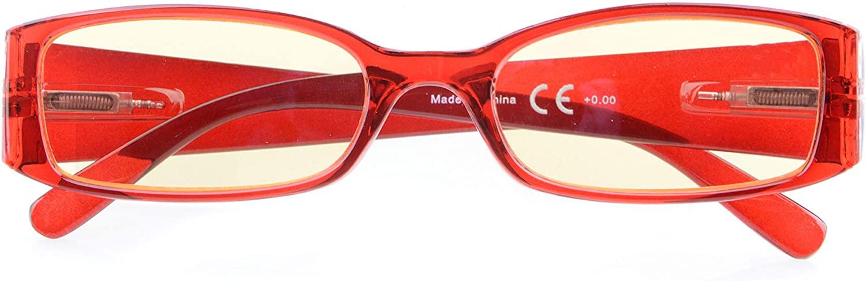 Computer Glasses for Women with Yellow Blue Light Filter Lens Reading Eyeglasses
