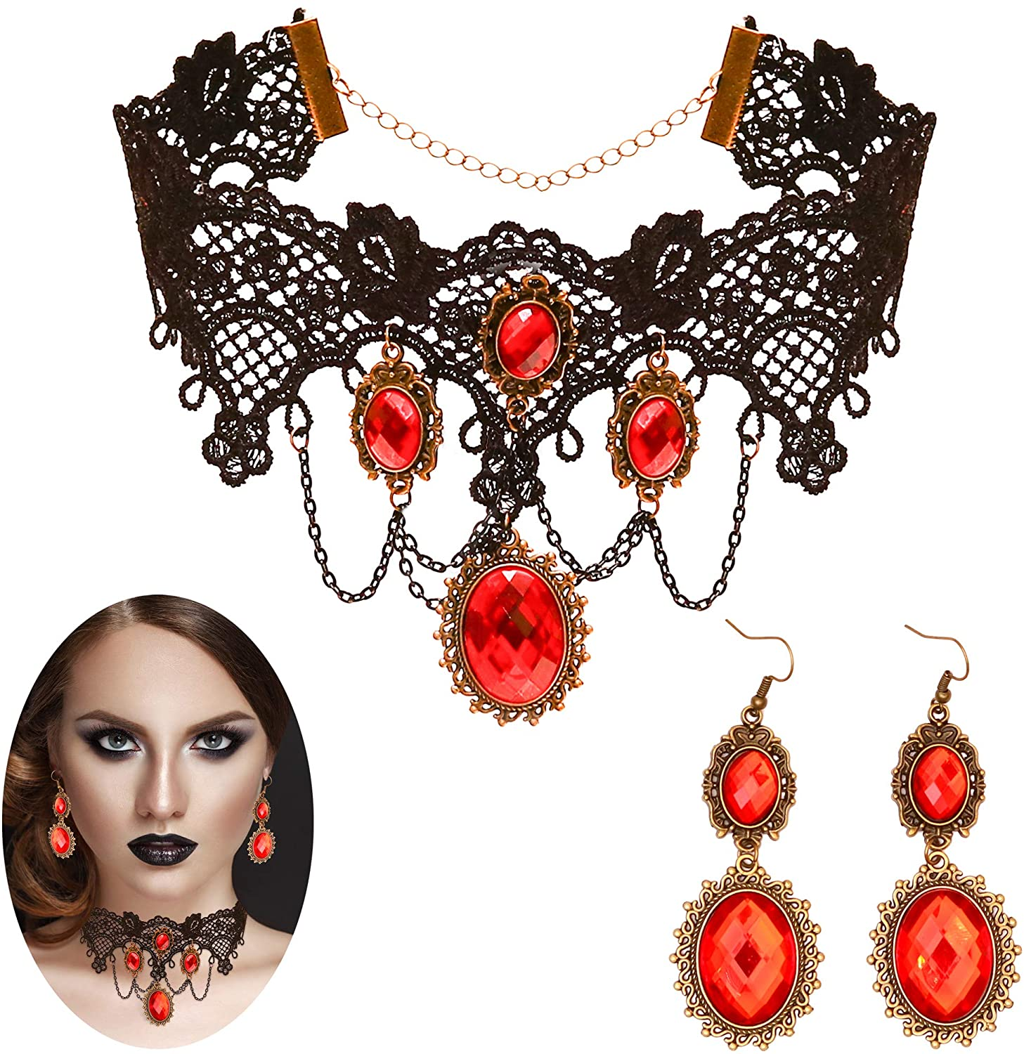 Skeleteen Gothic Vampire Jewelry Set - Black Lace Choker with Red Rhinestone Earrings Pirate Accessories Set for Women and Girls