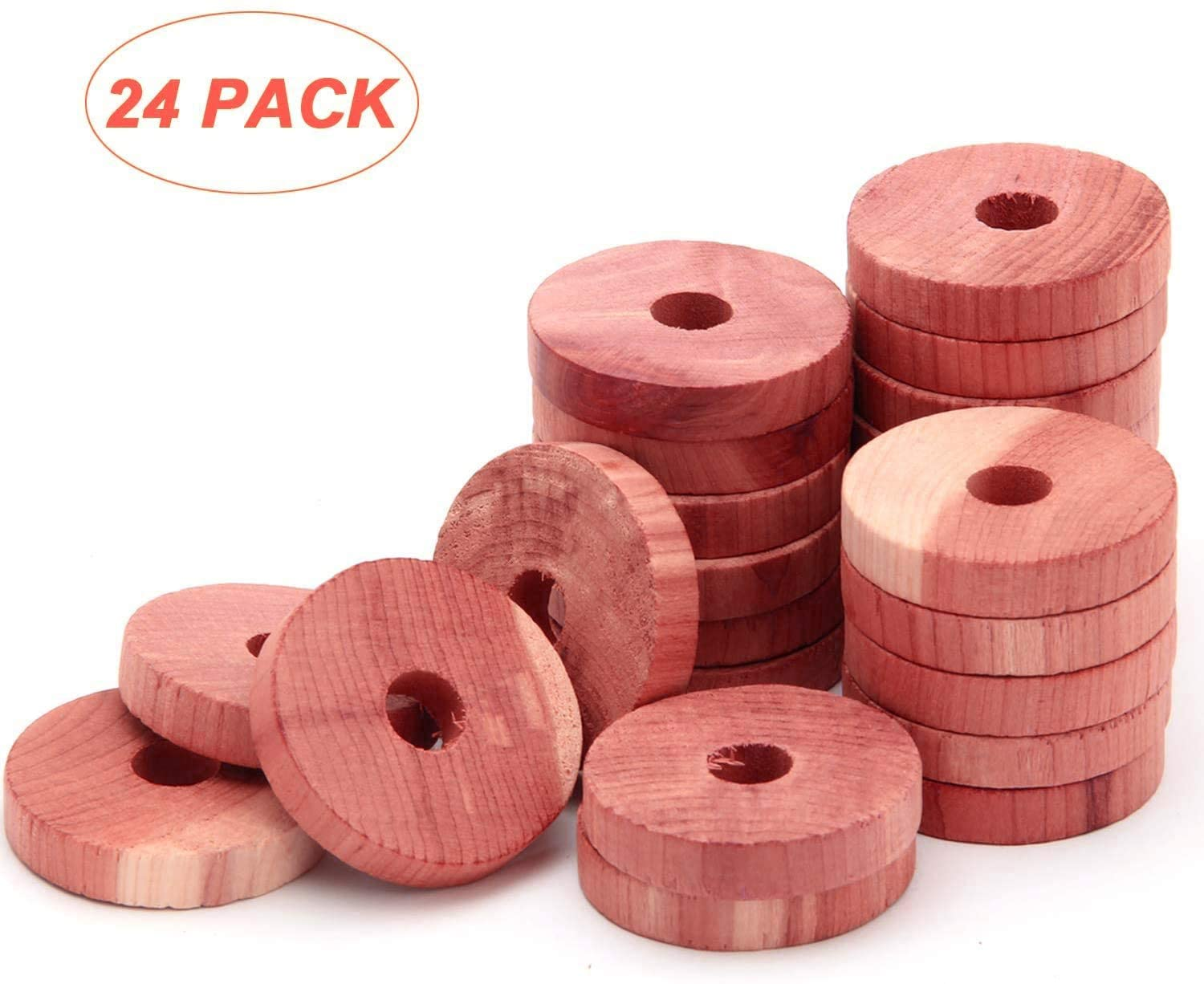 Coolrunner 24 Pack Cedar Fresh Red Cedar Wood Rings, Aromatic Cedar Blocks, 100% Natural Red Cedar Hangers for Closets and Drawers, Clothes Storage Protector