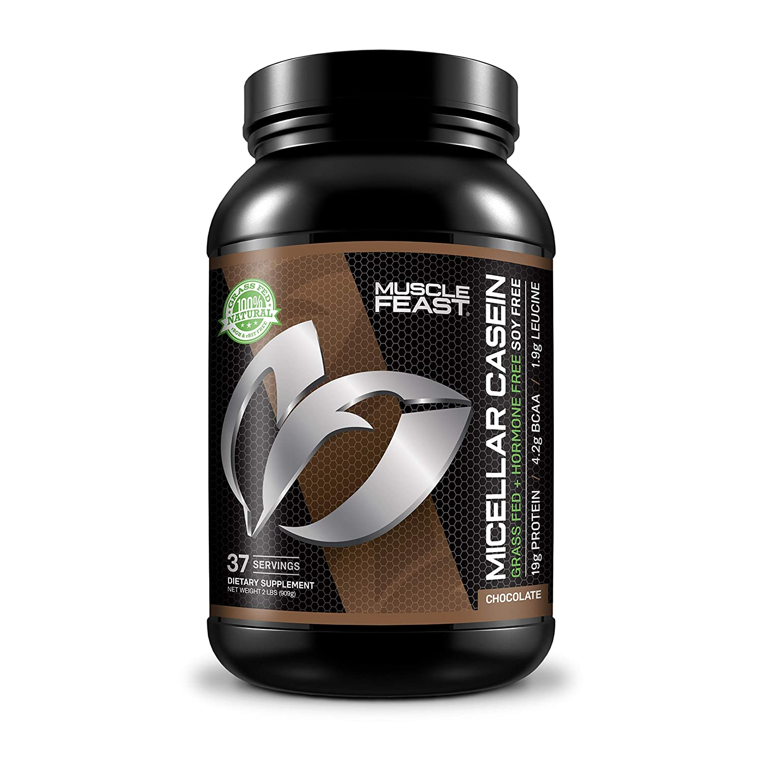 MUSCLE FEAST Grass Fed Micellar Casein, All Natural, Hormone Free, Slow Digesting, 100% Pure, 19g Protein, 88 Calories (Chocolate, 2lb)