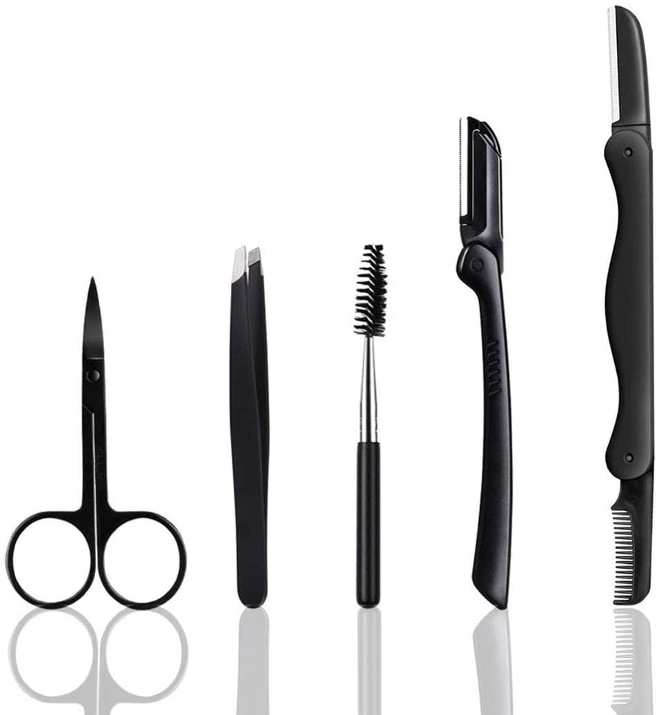 Eyebrow Razor, 5 in 1 Eyebrow Kit, Professional Eyebrow Grooming Set, Eyebrow Trimmers Set for Women and Men, Including Brow Razors Trimmer, Brush, Eyebrow Scissors, Slant Tweezers
