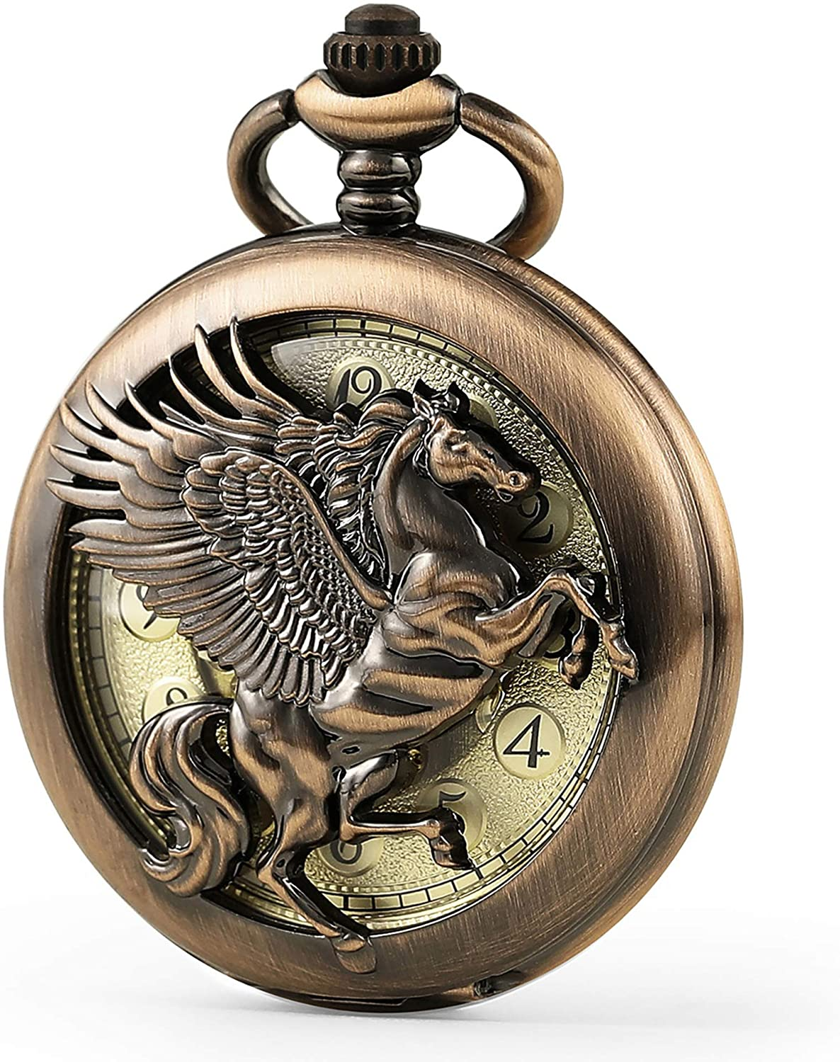 SEWOR Vintage Elegant Flying Horse Pocket Watch with Two Chains Leather & Metal