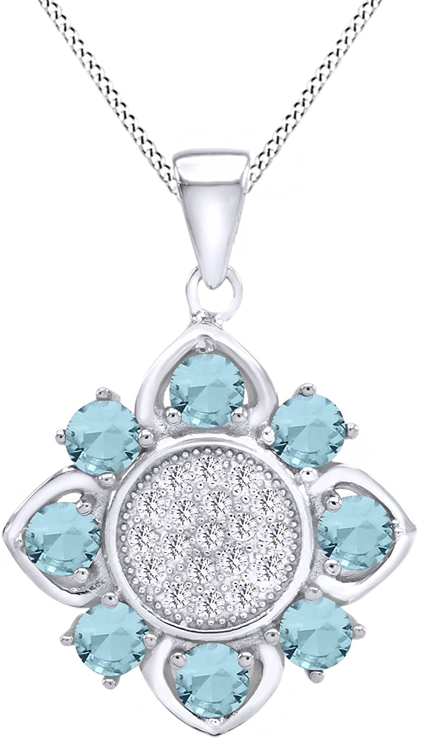 AFFY Art Deco Flower Cubic Zirconia Halo Cluster Style Pendant Necklace in 925 Sterling Silver