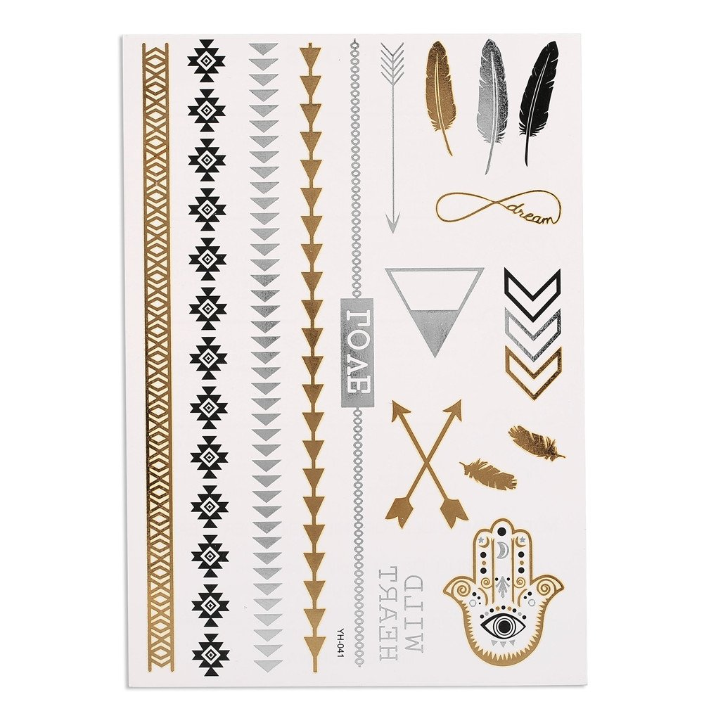 Temporary Tattoo Sticker, 5 Sheets Waterproof Tattoo Stickers in Shining Gold Silver, Latest and Fashionable Designs for Body Tattoo Art, Stickers to Cover Scars on Body
