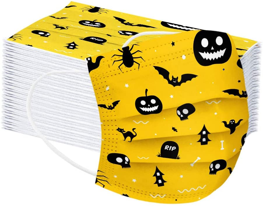 『Fast Delivery 』ZGG 50PC Halloween Children Disposable Face_Mask 3-ply Fashion Printed Face Mouth Protection Dust Haze Breathable Face-Shiled w/Elastic Ear Loop&Nose Wire for Outdoor,School