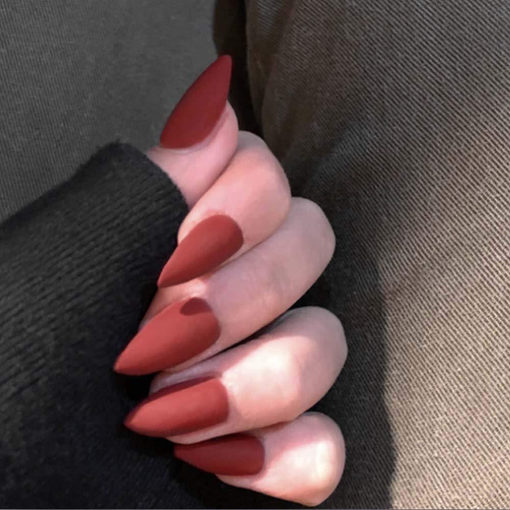 Poliphili 24Pcs Matte Colorful Long Acrylic False Nails Pure Color Full Coverage Stiletto Shape Art Tips Multi-Color Fake Nail (Red)
