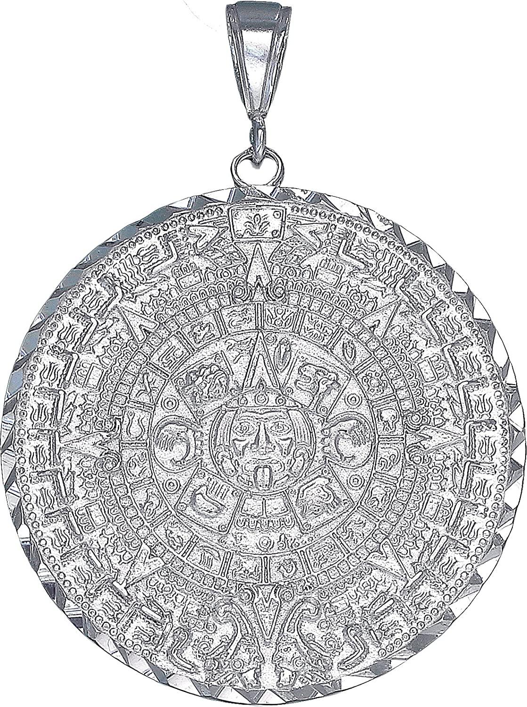 eJewelryPlus Sterling Silver Aztec Calendar Mayan Sun Charm Pendant Necklace Diamond-Cuts