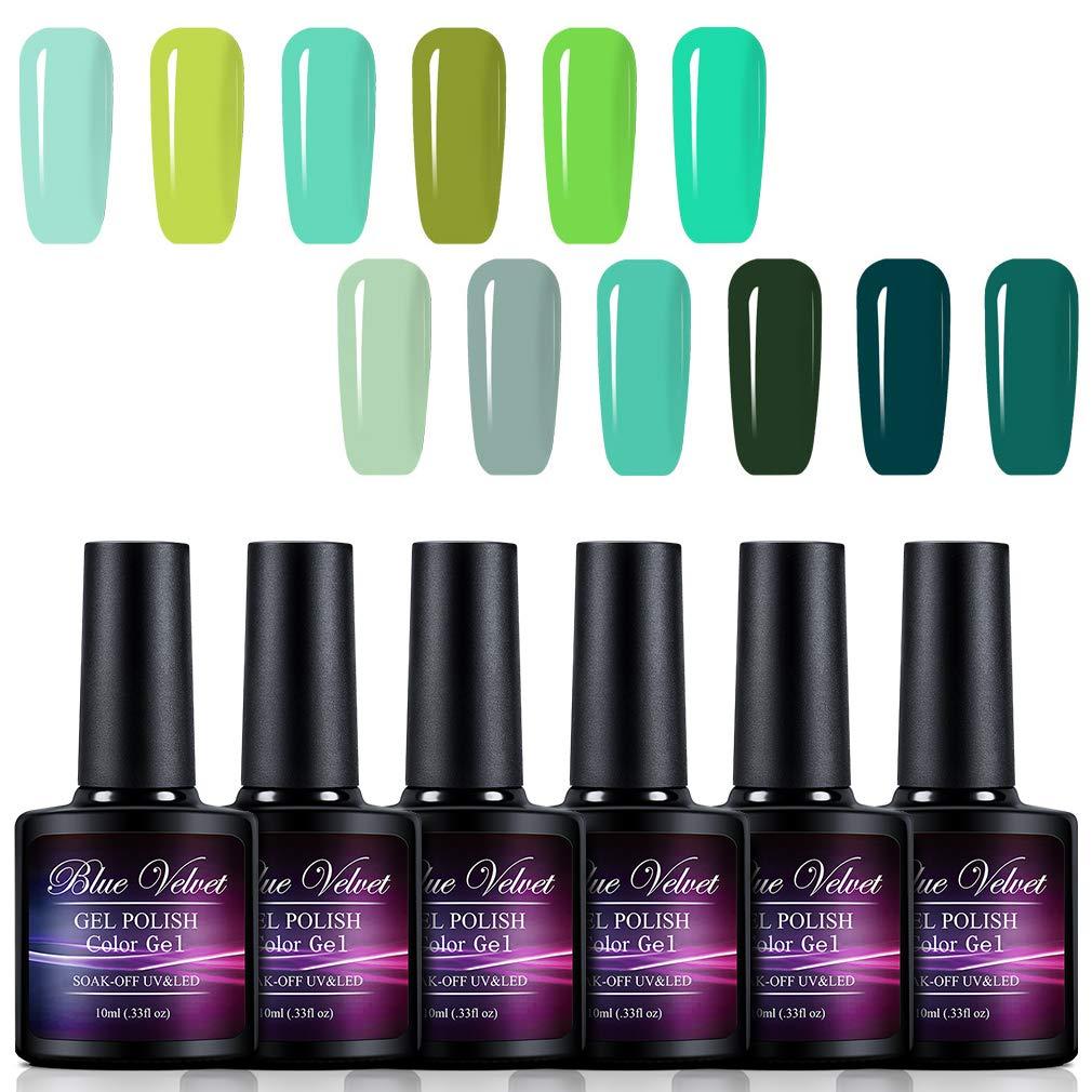 Gel Polish Set Blue Velvet 12pcs Soak Off UV LED Green Color Gel Nail Coat Manicure and Pedicure Kit 10ML