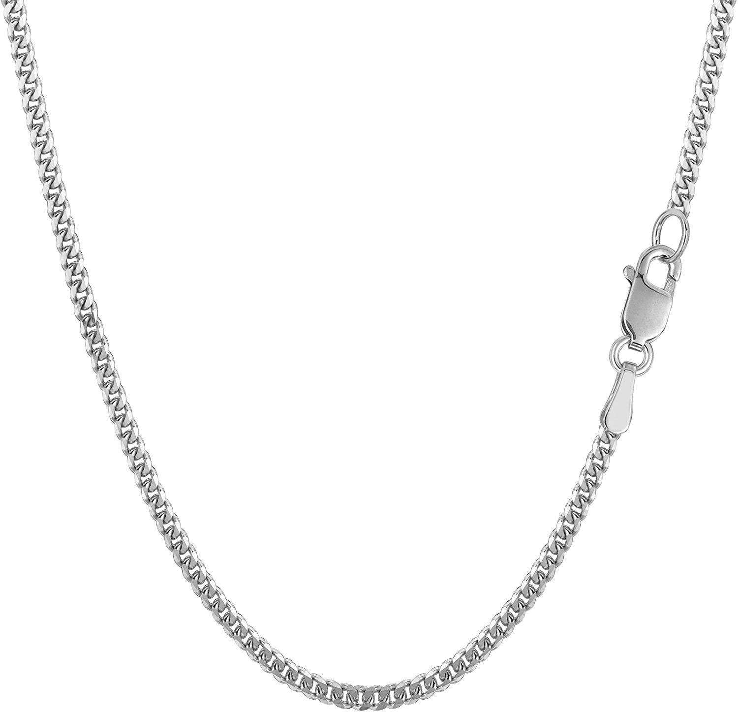 14k White Gold Gourmette Chain Necklace, 2.0mm