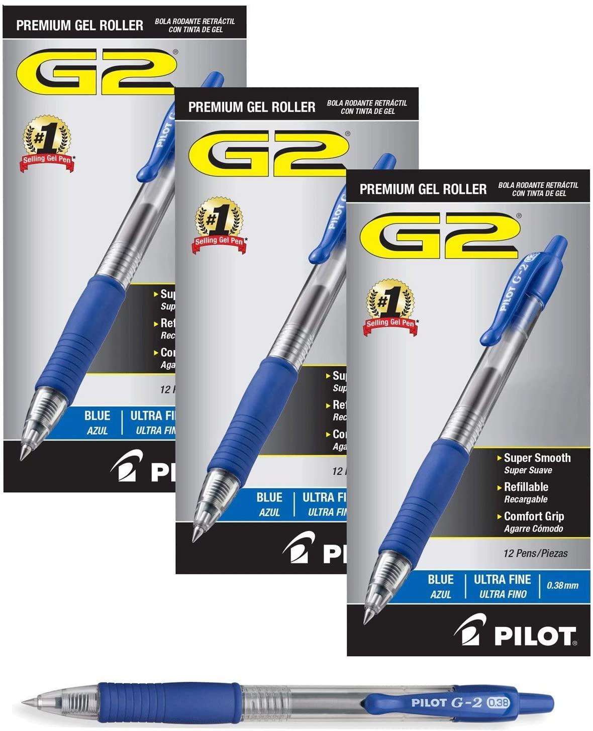 Pilot G2 Retractable Premium Gel Ink Roller Ball Pens Ultra Fine (36 Pack, Blue)