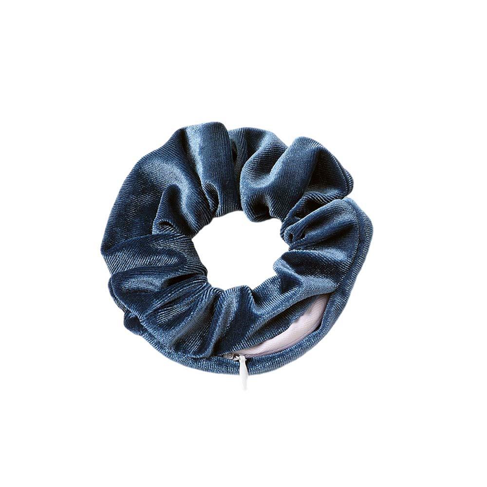 NNIOV HiddenZipper Scrunchies, Stash Pocket Scrunchie, Velvet Chiffon ElasticHair Tie, Bracelet, Perfect for Festivals, Concerts, Working out, Key Money Lipstick Storage Bag (SIMPLE STEEL BLUE)