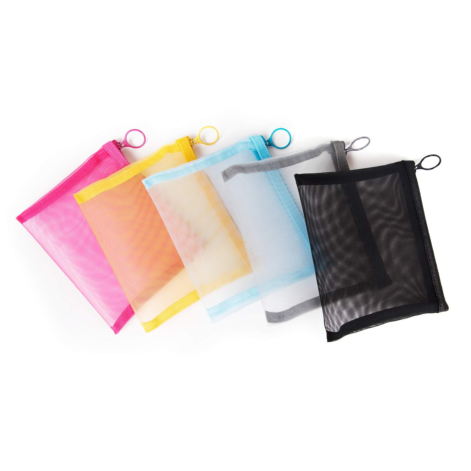Patu Zipper Mesh Bags, Size M / A6, 5 Pieces, Beauty Makeup Cosmetic Accessories Organizer, Travel Toiletry Kit Set Storage Pouch, Assorted Colors