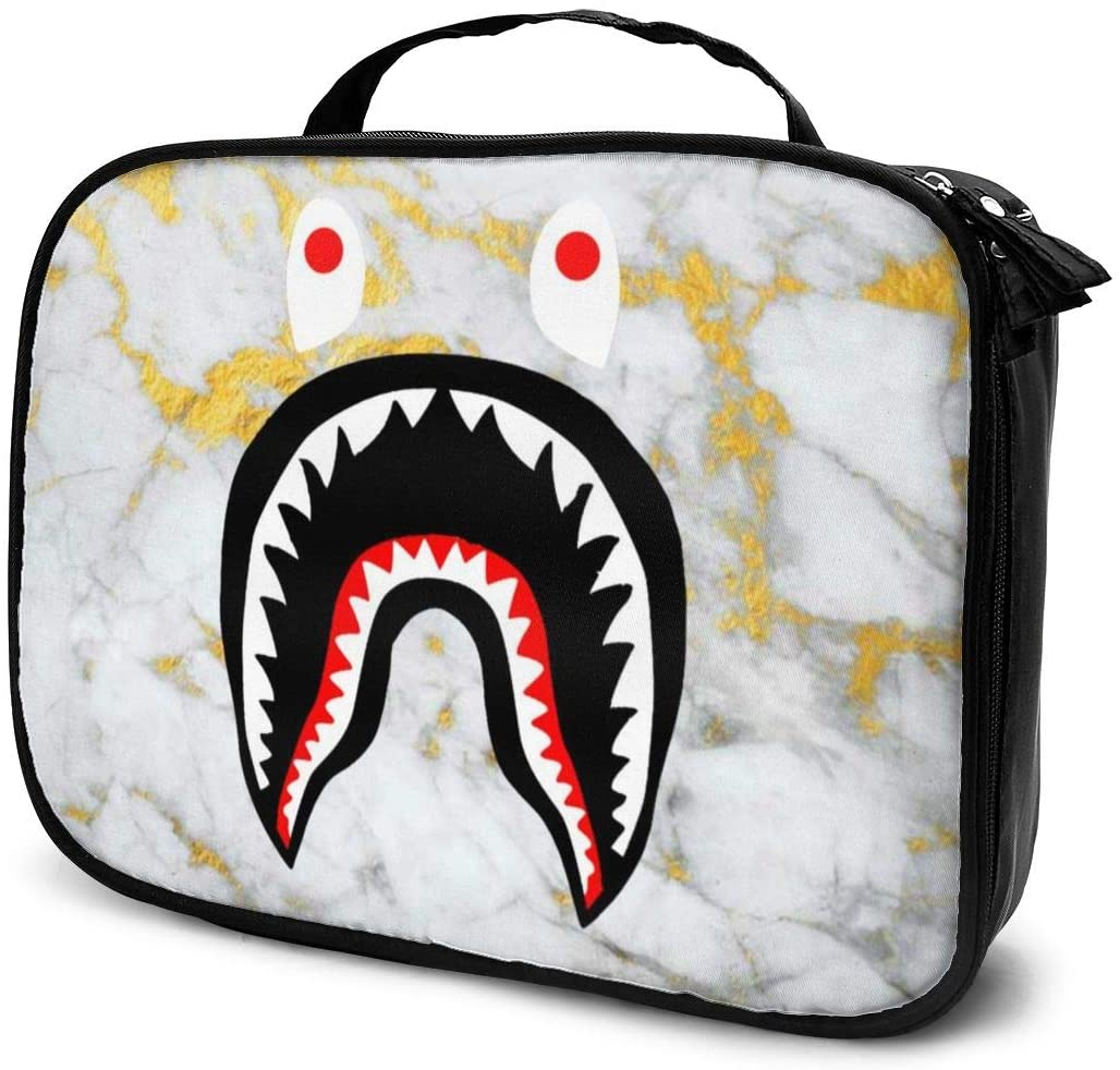 NiYoung Gold Marble Ba-pe Shark Teeth Storage Bag Organizer Portable Gift for Girls Women Large Capacity Travel Makeup Train Case for Makeup Brushes Digital Accessories Lazy Tote Bag
