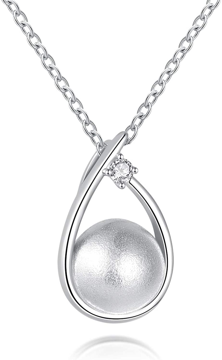JLYY Minimalist Cremation Jewelry for Ashes 925 Sterling Silver CZ Heart Teardrop Pendant Keepsake Memorial Funeral Urn Women Necklace for Your Everlasting Memories