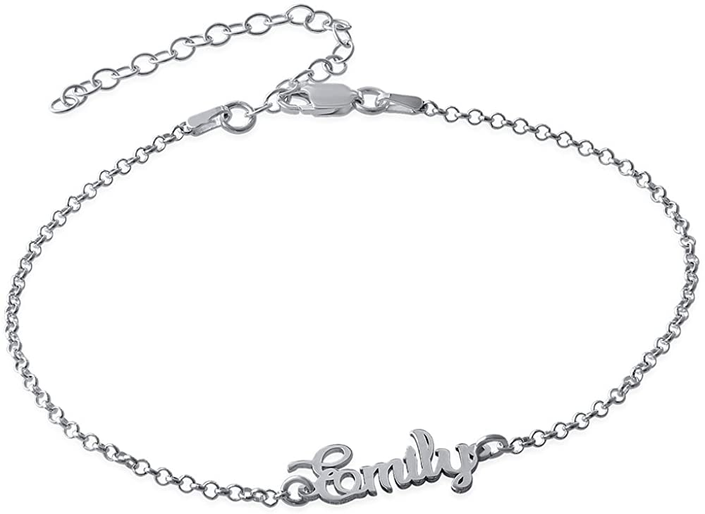 MyNameNecklace Personalized Name Ankle Bracelet Custom Made in Sterling Silver 925 or 18k Gold Plating- Leg Summer Jewelry Gift