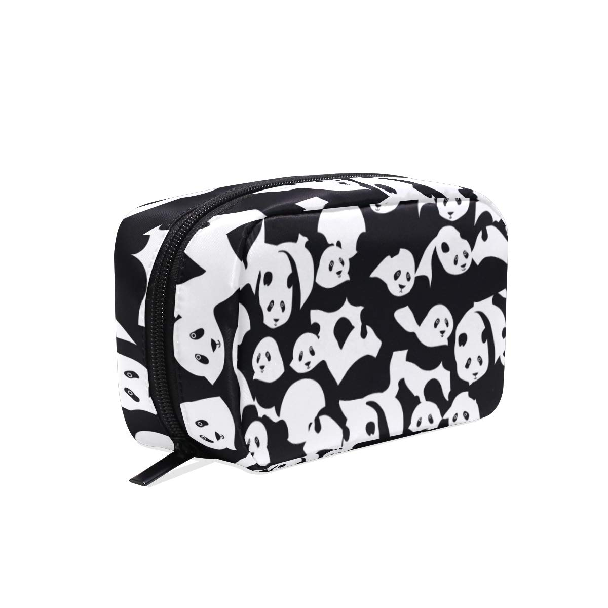 Women's Makeup Cosmetic Bag Panda Black White Makeup Pouch for Travel Cosmetic Pouch Purse(904g)