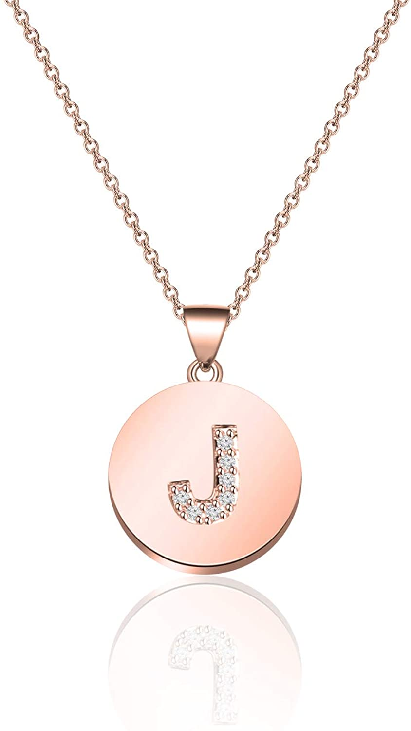 TGBJE Initial Necklace Rose Gold Letter Necklace Adjustable Necklace Gift for Women Girl