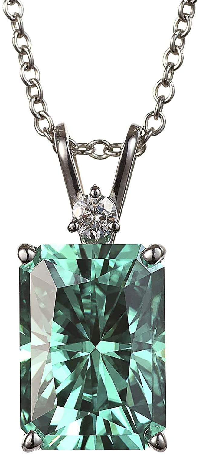 White Gold 14x10mm Green Radiant Moissanite Pendant Necklace, 9.40cttw DEW by Charles & Colvard