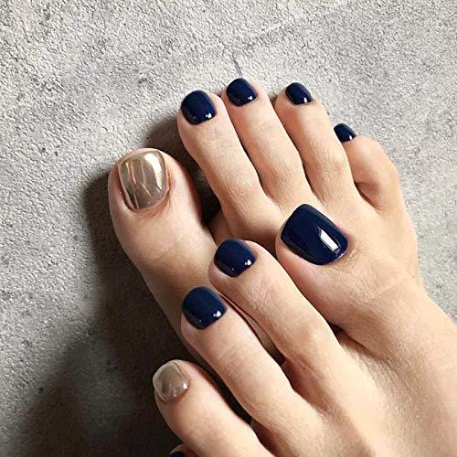 Jovono Glossy Press on Toenail Blue Full Cover Fake Toenail Artificial False Toe nails for Women and Girls(24Pcs)