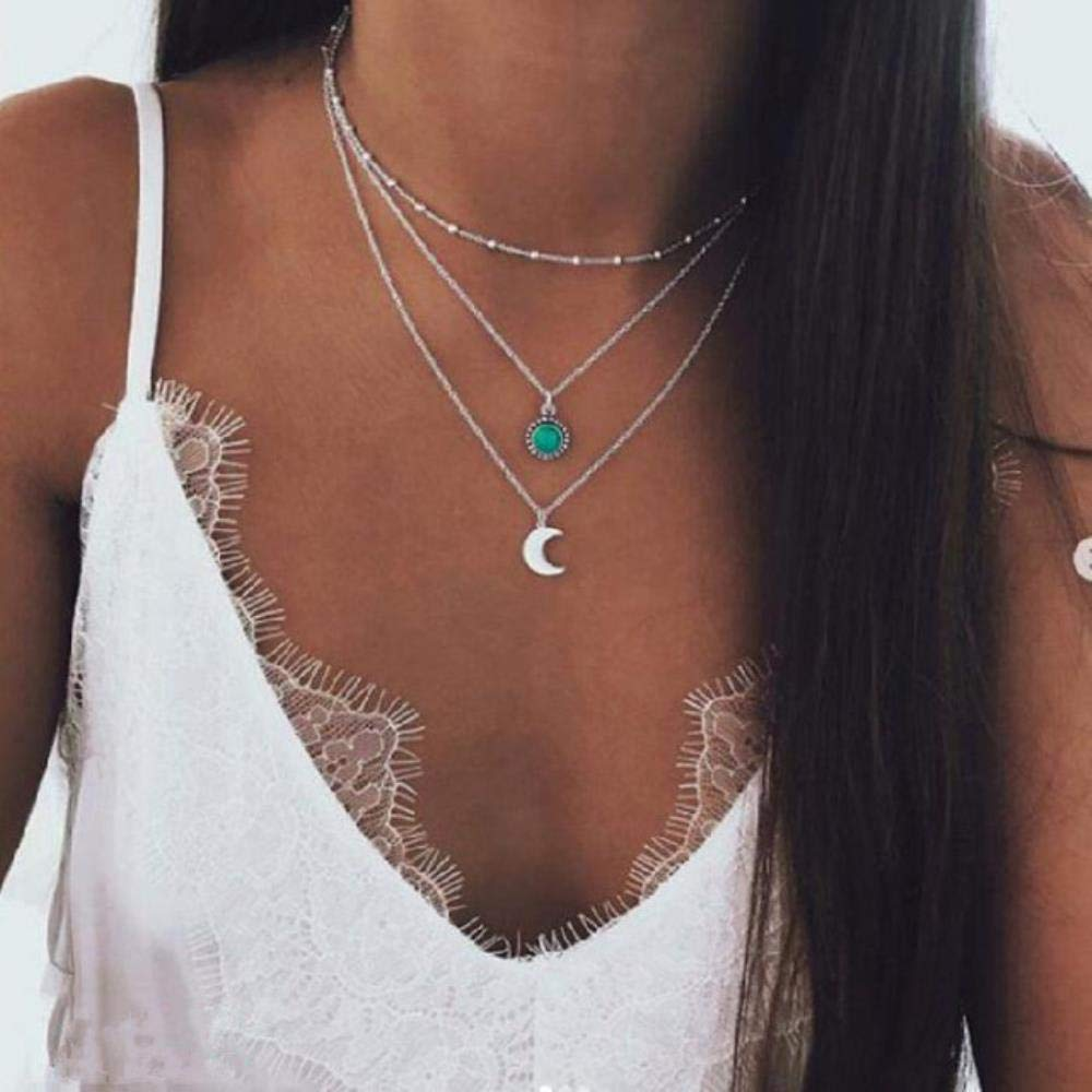 Bohemian Multi Layered Necklace for Women Vintage Portrait Coin Star Moon Pendant Necklace Geometric Collier Collares,FOV957