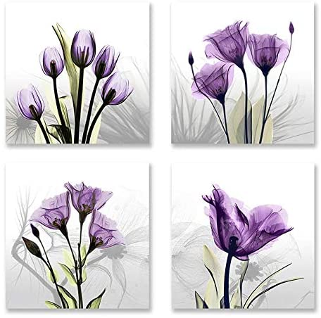 Flower Painting Wall Art Abstract Purple Tulip Vivid Elegant Floral Art for Living Room Ready to Hang