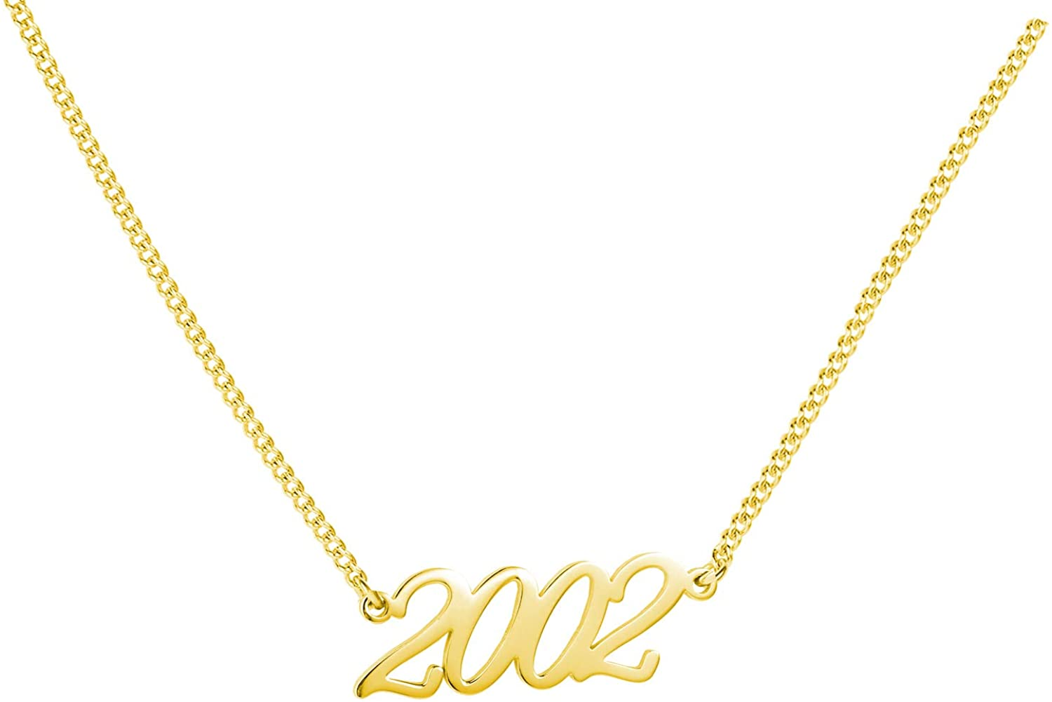 WIGERLON Birth Year Number Necklace Birthday Gift for Women and Girl Color Silver and Gold