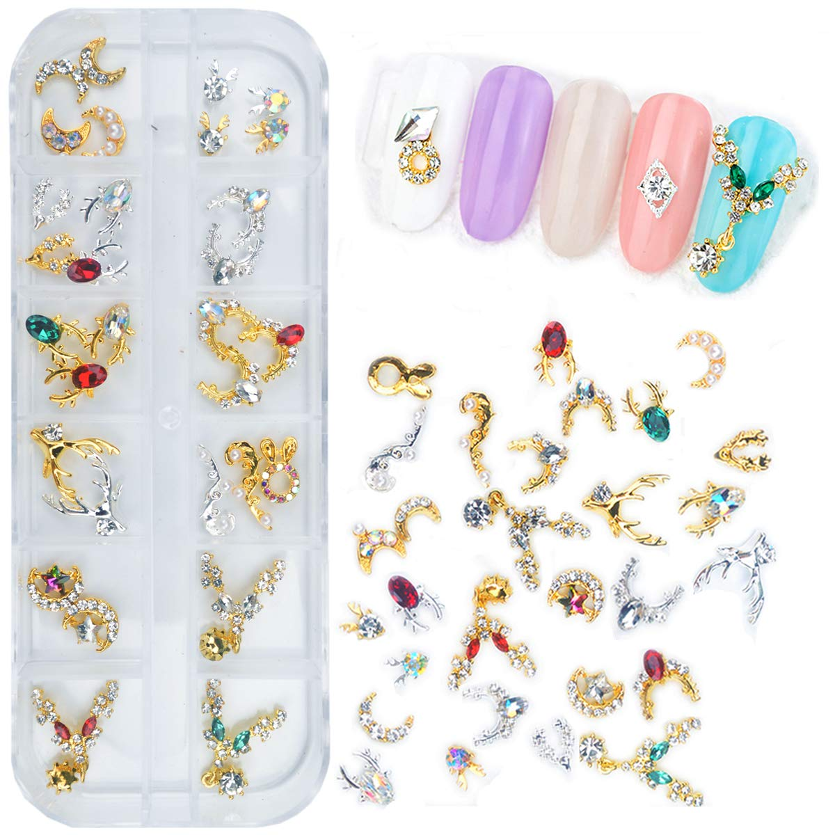 editTime Charms Metal Alloy Silver Gold 3D Nail Art Bow Crown Elk Butterfly Rhinestone Crystal Diamonds Nail Studs Manicure Jewelry for Crafts DIY Nail Art Tip (Elk)