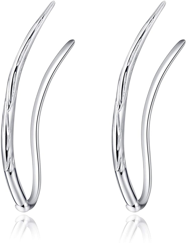 Ear Climber Crawler Cuff Sterling Silver Leaf Earrings for Women Girls,Wrap Earrings Hypoallergenic