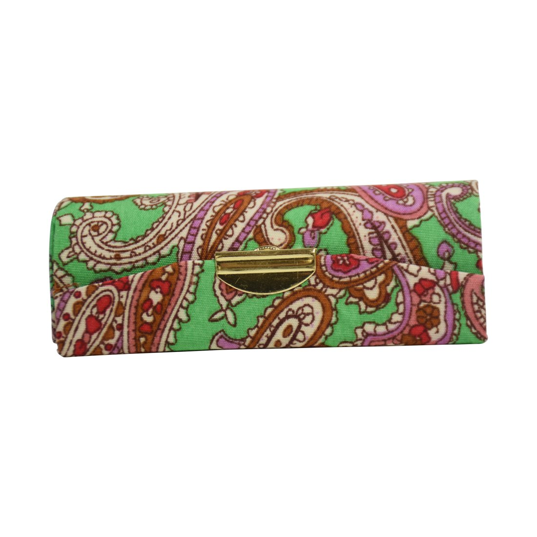 Paisley Patterned Ladies Lipstick Case with Mirror Purse Lip Stick Holder - Green