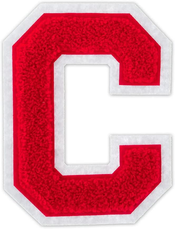 C - Red on White - 4 1/2 Inch Heat Seal/Sew On Chenille Varsity Letter