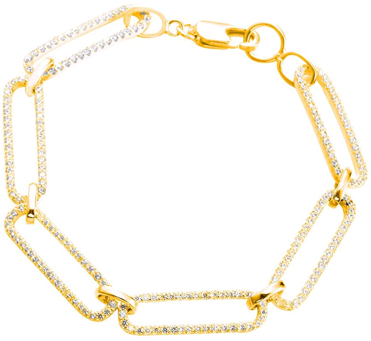 .925 Sterling Silver 6.5MM CZ Paperclip Chain Bracelet - 7