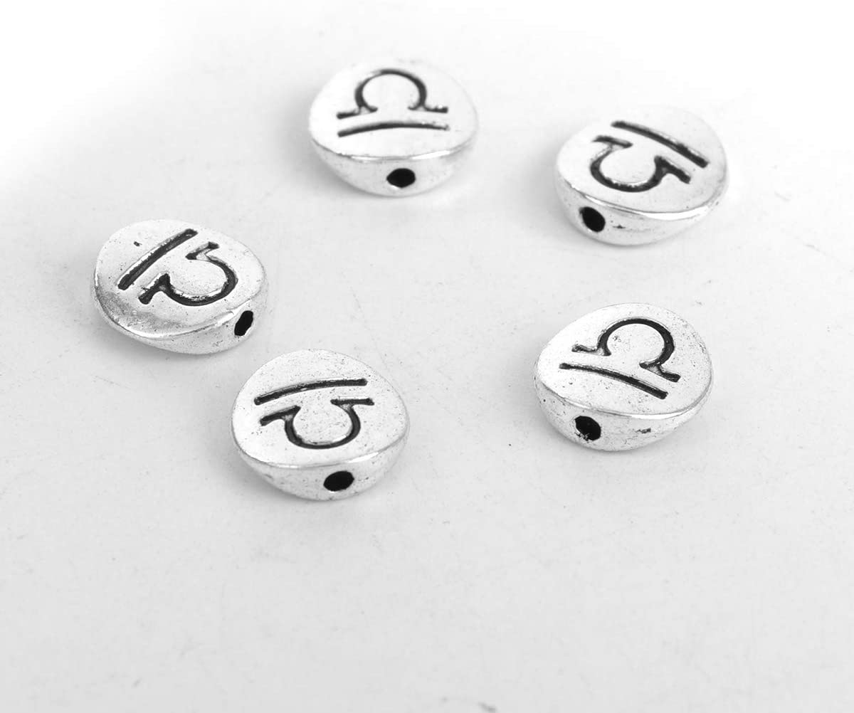 PEPPERLONELY 50pc Antiqued Silver Alloy Round Libra Sign of Zodiac Constellations Charms Pendants10mm(3/8) Dia.