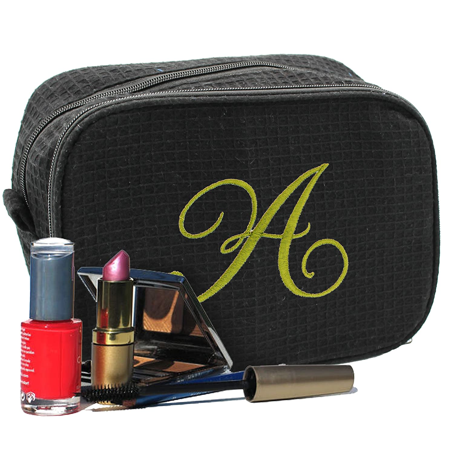 Personalized Waffle Makeup Bag - Monogrammed Cosmetic Make Up Travel Train Case - Custom Embroidered (Black)