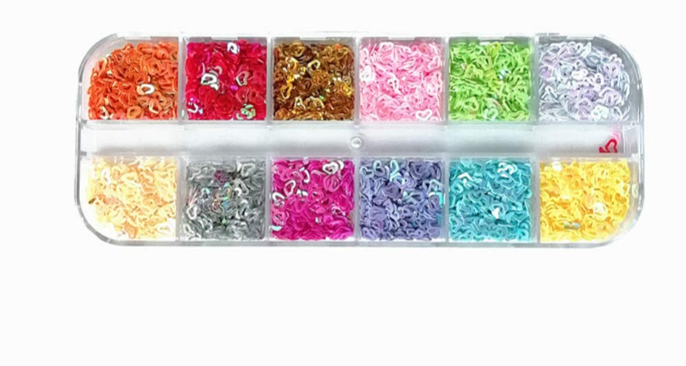 Cathercing Nail Glitter 12 Colors/set Splarkly Nail Sequins Stickers Flake Acrylic Manicure Paillette Ultrathin Face Body Glitters for Nail Art Decoration & DIY Crafting (hollow heart)