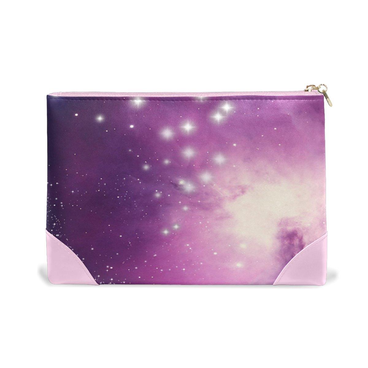 Women Makeup Bag Purple Space Genuine Leather Zipper Cosmetics Pouch Lady Toiletry Bag