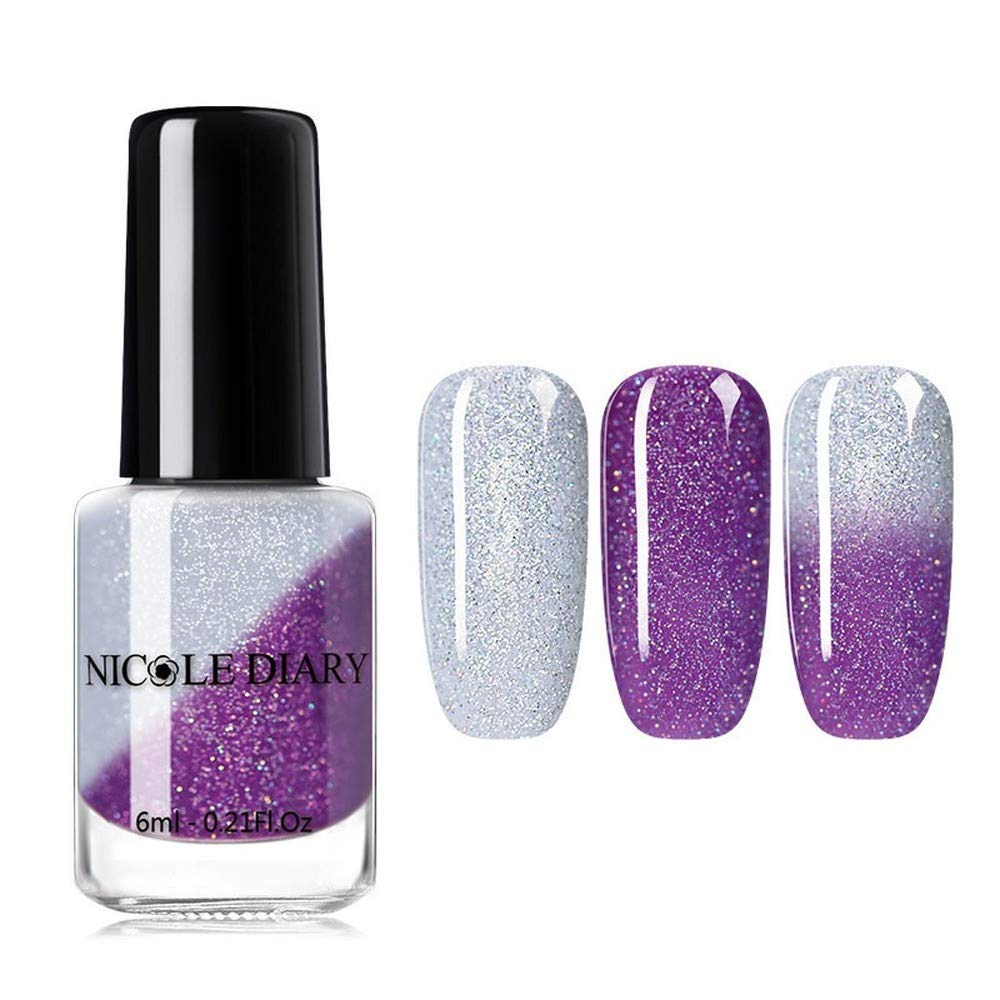 Nail Polish Hot Flash Powder Discoloration Temperature Discoloration Varnish Gradient Nail Polish (Holo Thermal 08)