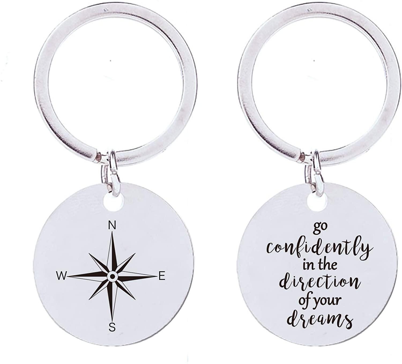 Graduation Gift Key chain Stainless Steel, Inspirational Keychain for Men Boy Women Girls(Double Sided)