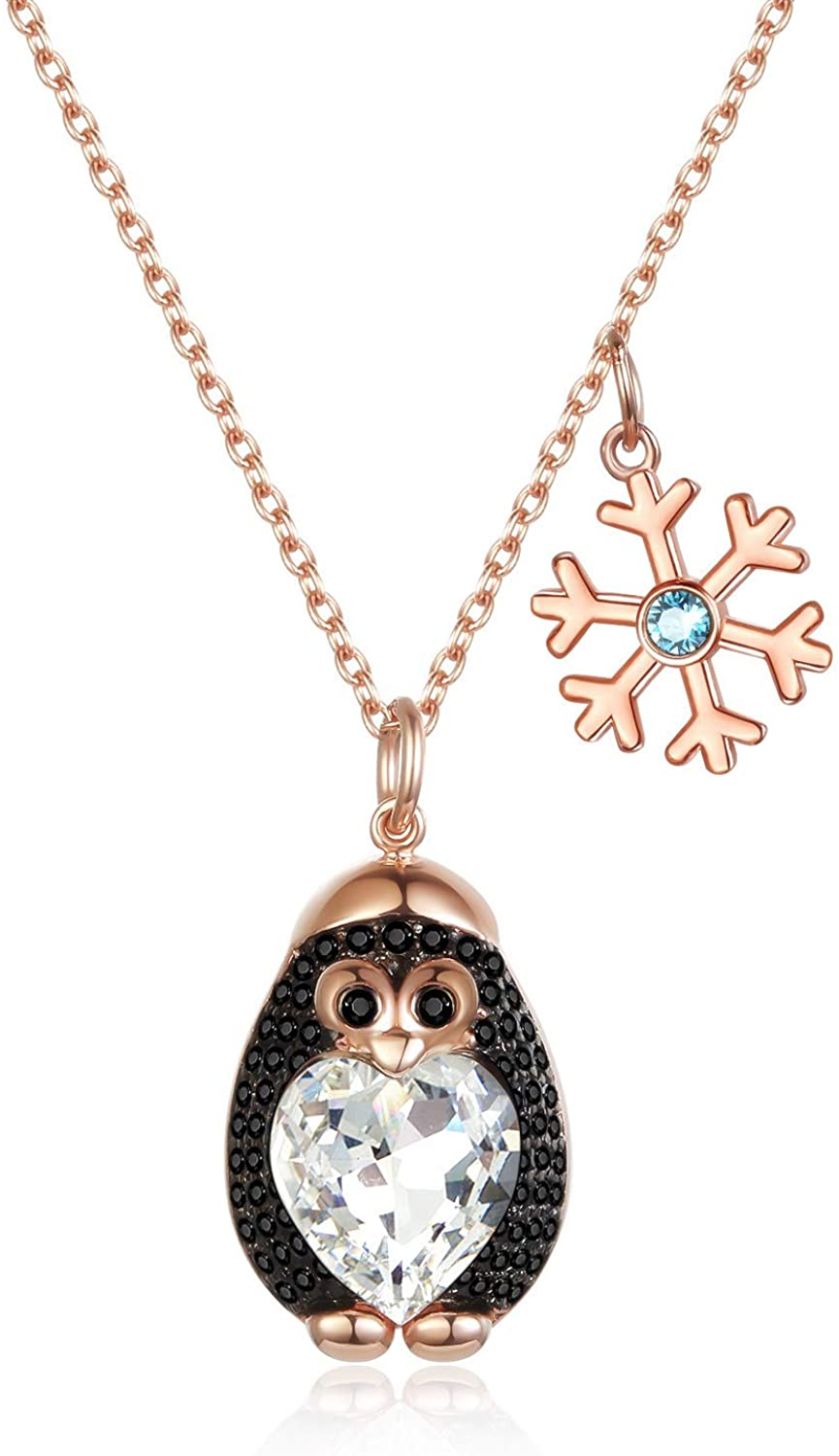 AOBOCO Sterling Silver Penguin Pendant Jewelry Gift for Her, Girfriend Birthday Valentines Day Gift, Rose Gold Plated