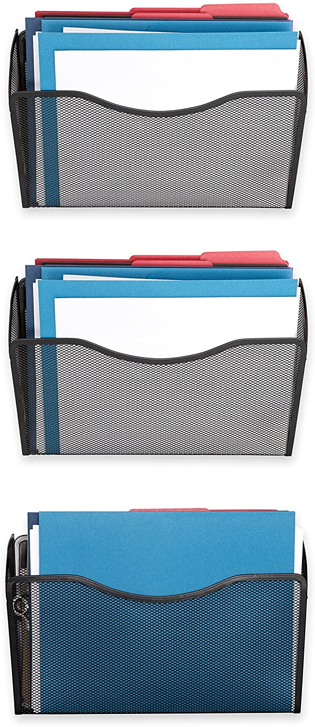 3 Pack Wall File Organizer, Metal Mesh Organizer 3 Pack, Perfect for Sorting Incoming Mail, Storing Important Letter Files, Folders, Books, Binders, and More