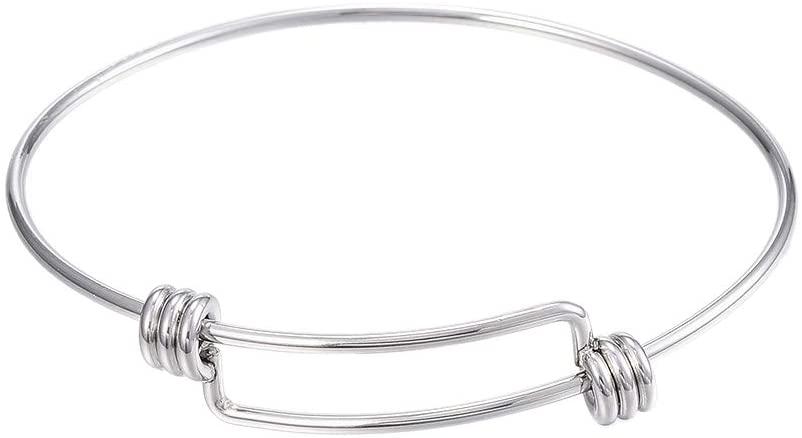 "PH PandaHall 20pcs Stainless Steel Wire Bracelet Adjustable Bangle Bracelet Blank Cuff Bracelet for Jewelry Making, 2.4"" - Original Color"
