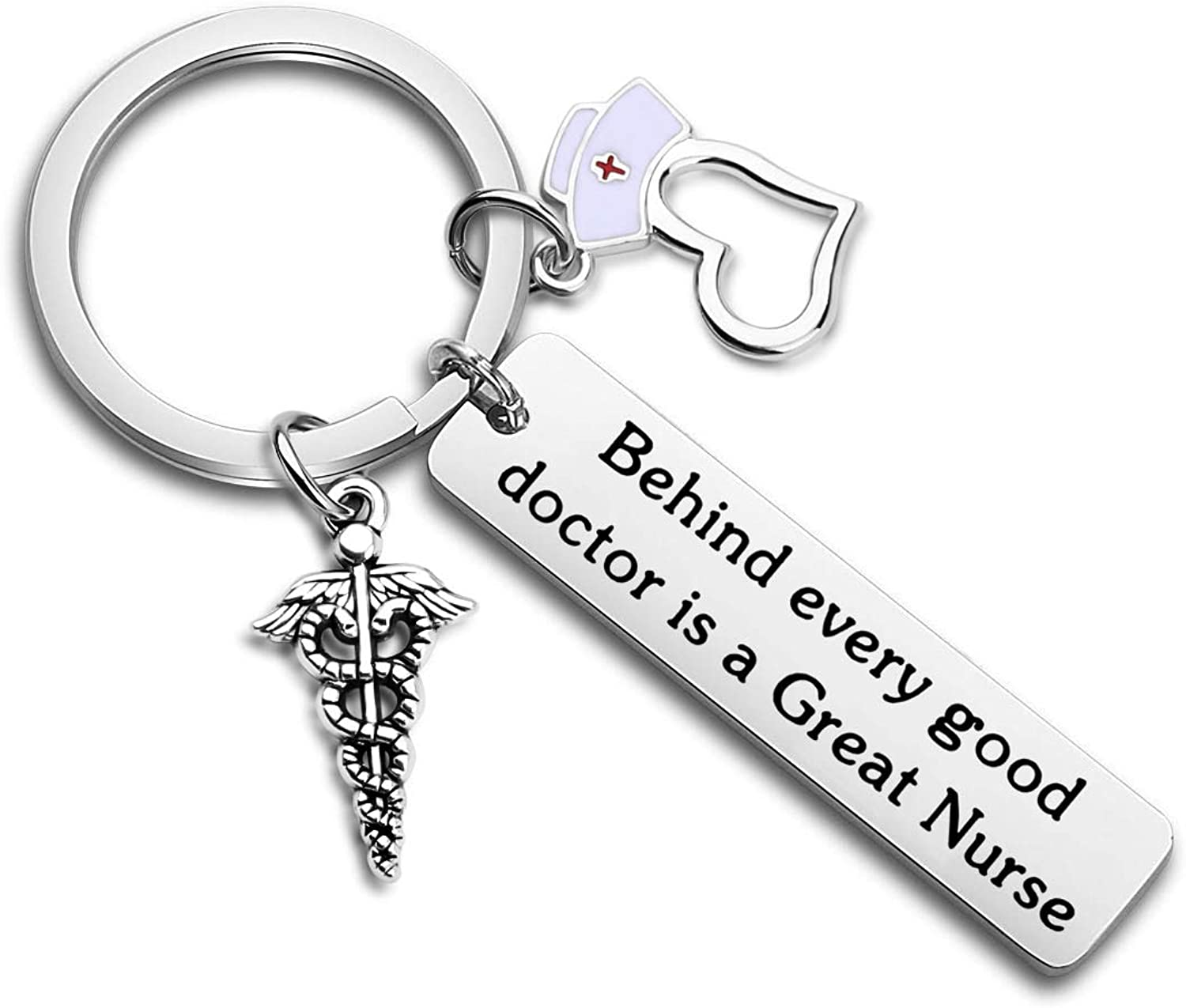 WUSUANED Funny Nurse Gift Behind Every Good Doctor is A Great Nurse Keychain Nursing Graduation Gift for School Nurse Medical Student