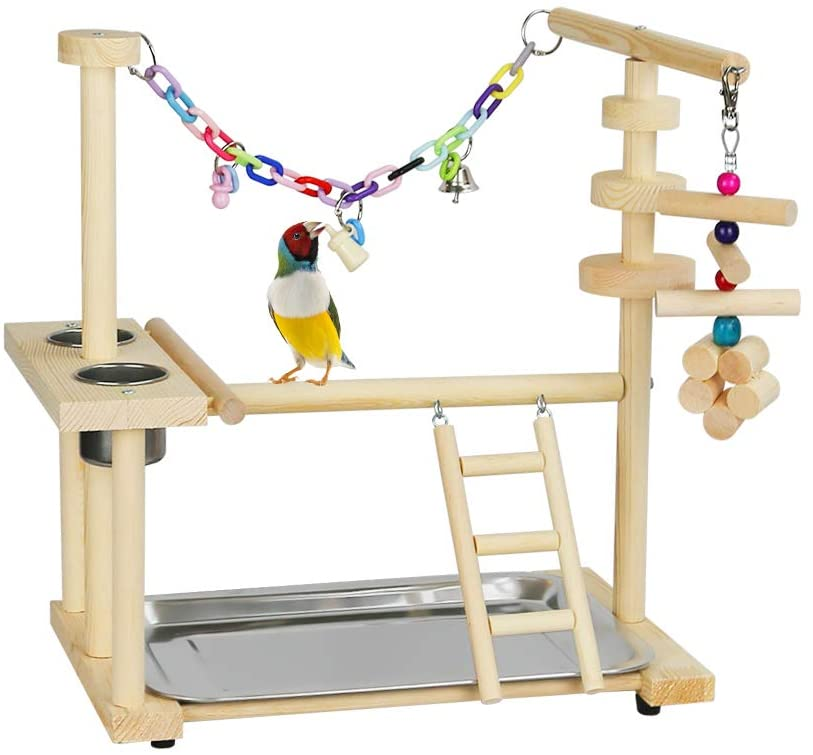 Exttlliy Parrots Bird Playground Birdcage Playstand Play Gym Parakeet Playpen Ladder with Feeder Cup Bird Toys Swing Chew Toy