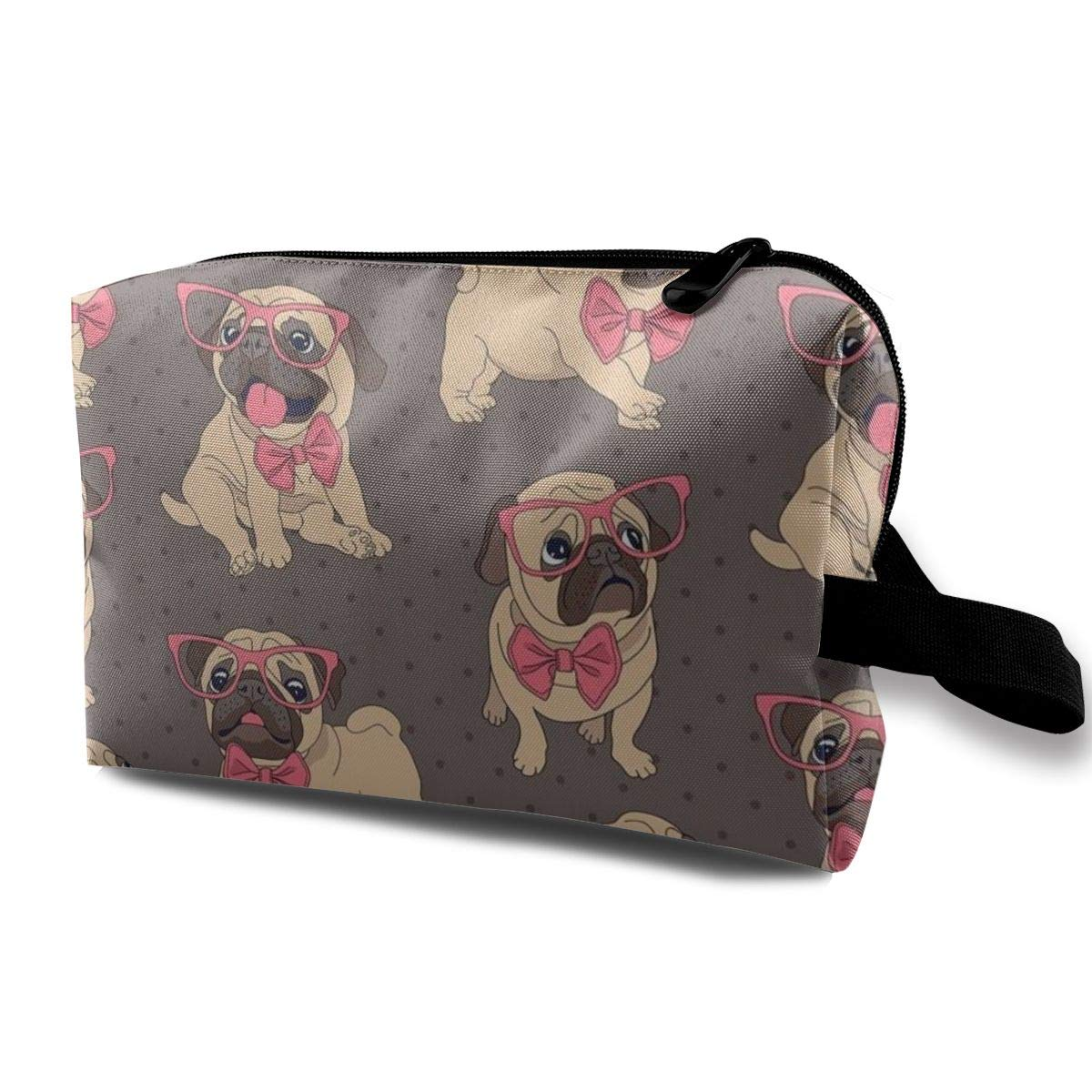 Toiletry Bag - Cosmetic Makeup Travel Organizer for Men & Women, Cute Pug Dog With Pink Tie And Glasses