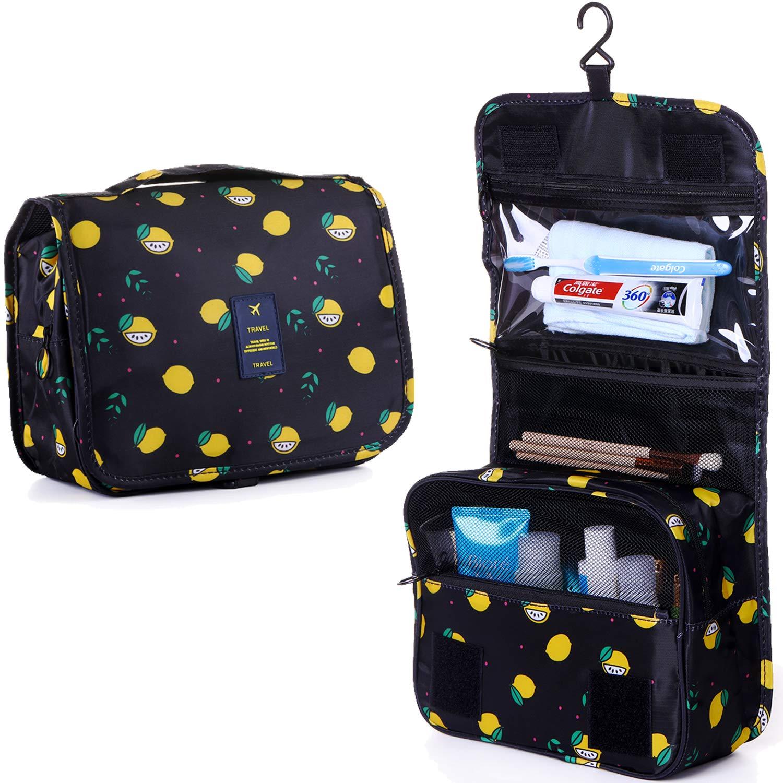 LAKIBOLE Toiletry Bag Multifunction Cosmetic Bag Portable Makeup Pouch Waterproof Travel Hanging Organizer Bag for Women Girls (Navy Blue Lemon)