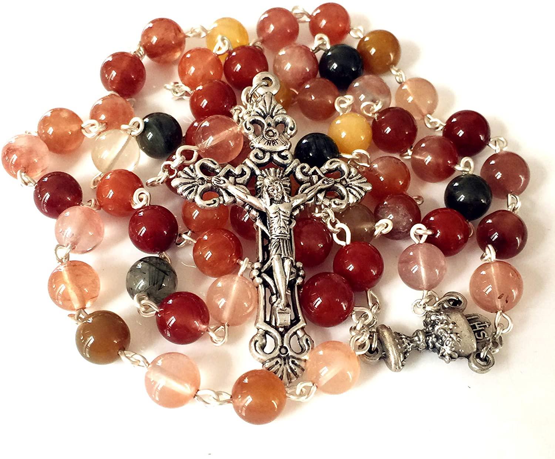 elegantmedical Rutilated Quartz Crystal Beads Catholic First Communion Rosary Necklace Religions Gift