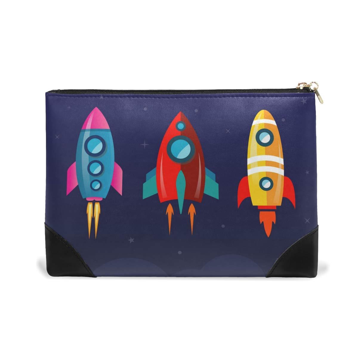 Women Makeup Bag Kawaii Rocket Genuine Leather Zipper Cosmetics Pouch Lady Toiletry Bag