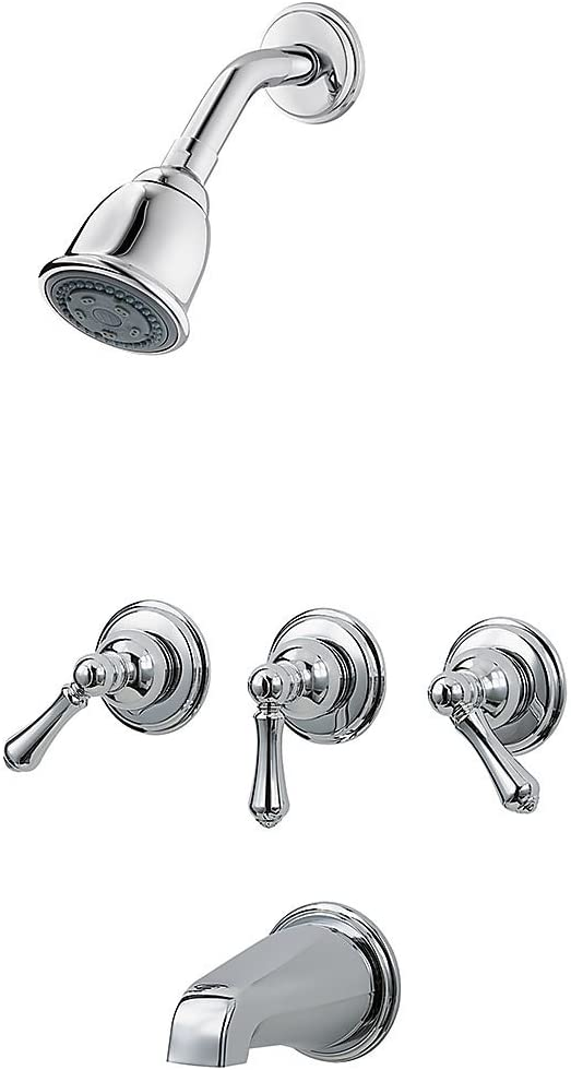 Pfister LG01-81BC LG0181BC 3 Tub & Shower Faucet with Metal Lever Handles, Polished Chrome